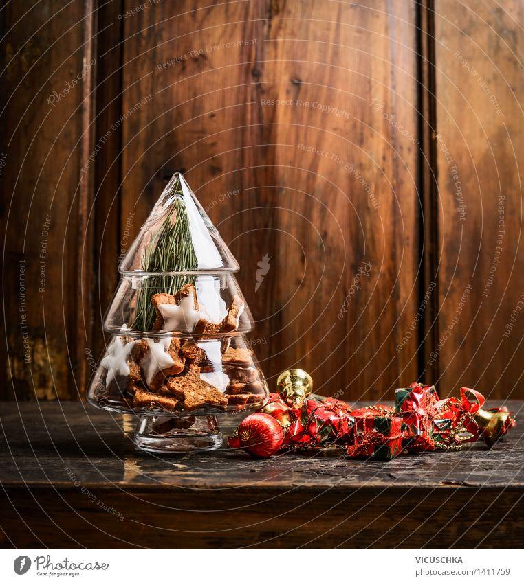 Deko Weihnachtsbaum aus Glas mit Plätzchen Weihnachten & Advent Winter Innenarchitektur Stil Hintergrundbild Feste & Feiern Wohnung Design Dekoration & Verzierung Tisch retro Postkarte Symbole & Metaphern Tradition Weihnachtsbaum Dessert