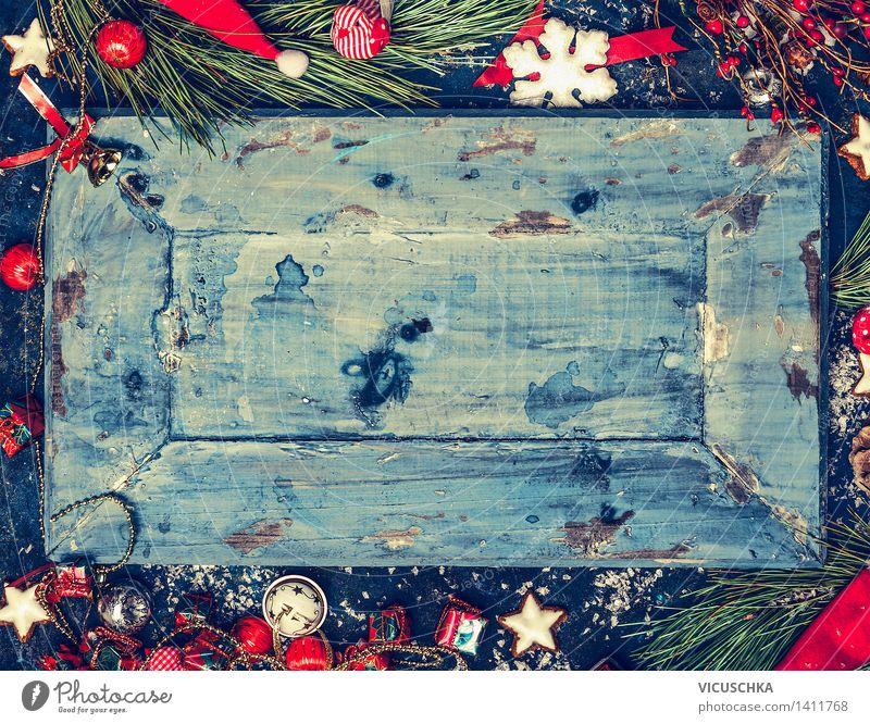 Blaue Weihnachts Hintergrund mit rote und weiße Deko Stil Design Winter Feste & Feiern Weihnachten & Advent Natur retro Hintergrundbild horizontal