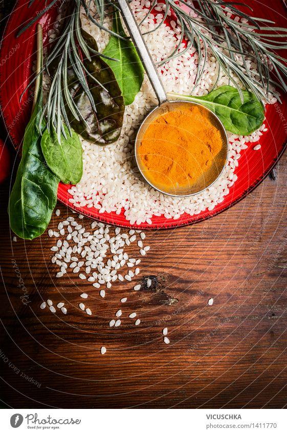 Reis und Curry Gesunde Ernährung gelb Leben Stil Hintergrundbild Lebensmittel Design Tisch Kochen & Garen & Backen Kräuter & Gewürze Küche Bioprodukte Getreide