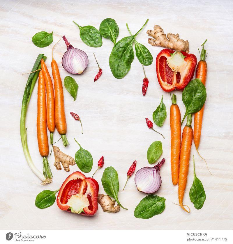 Frisches Gemüse Zutaten fürs Kochen Natur Gesunde Ernährung Leben Stil Hintergrundbild Garten Lebensmittel Design Tisch Kochen & Garen & Backen