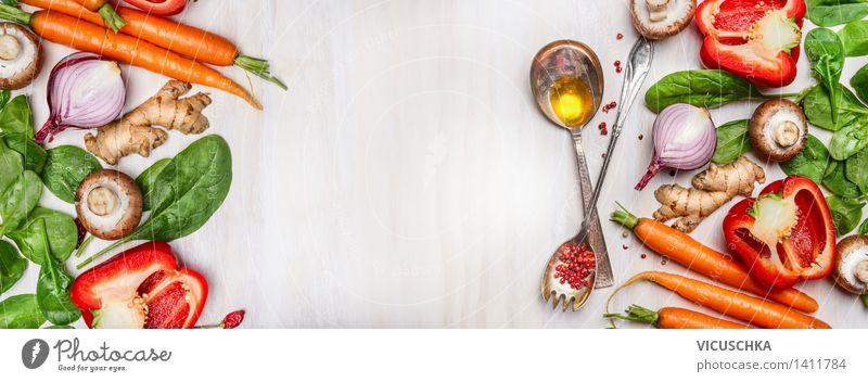 Bio Gemüse Auswahl mit Kochlöffel und Öl Gesunde Ernährung Leben Stil Hintergrundbild Garten Lebensmittel Design Tisch Kochen & Garen & Backen Küche Fahne