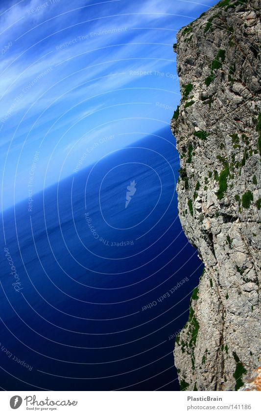 Abwärts Klippe Meer Küste blau Strukturen & Formen Natur Wolken Panorama (Aussicht) Sommer Spanien Mallorca Landschaft Wasser Luft Himmel Strand