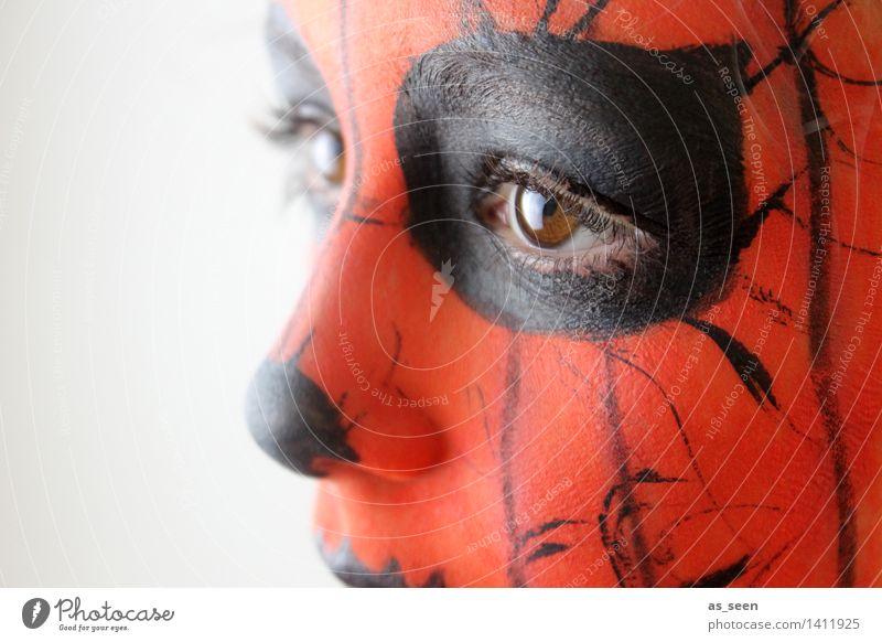 Geschminkt Karneval Halloween Kind Kindheit Gesicht Auge 1 Mensch 8-13 Jahre Schauspieler Blick ästhetisch authentisch exotisch fantastisch orange schwarz