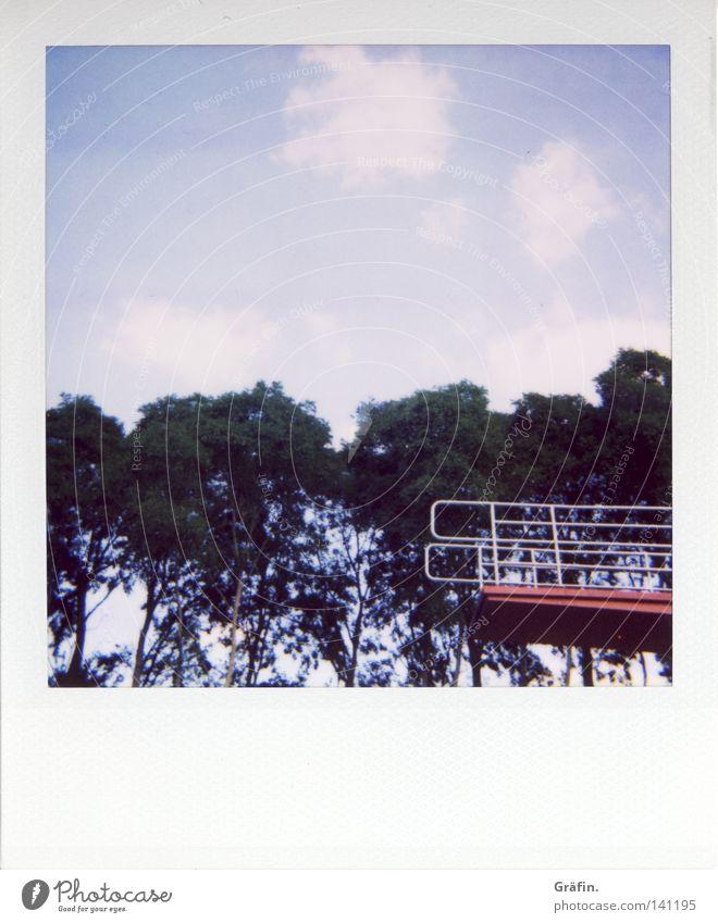Aus dem Bild gehüpft Himmel Wasser Sommer Baum rot Freude Wolken Wärme Spielen springen Eis Freizeit & Hobby 3 Turm Schwimmbad Geländer