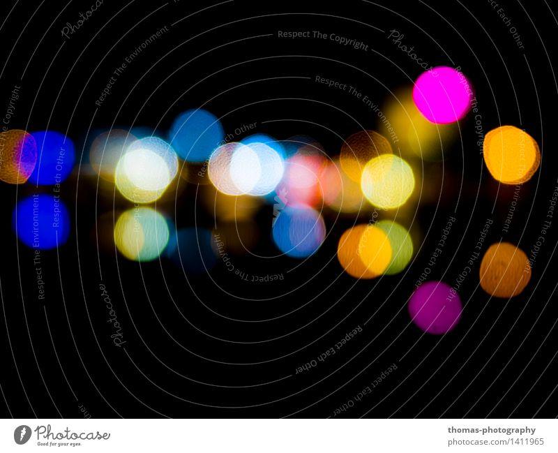 Fern und doch so nah Kunst blau mehrfarbig gelb gold grün rot schwarz Farbfoto Experiment abstrakt Muster Nacht Licht Kontrast Reflexion & Spiegelung