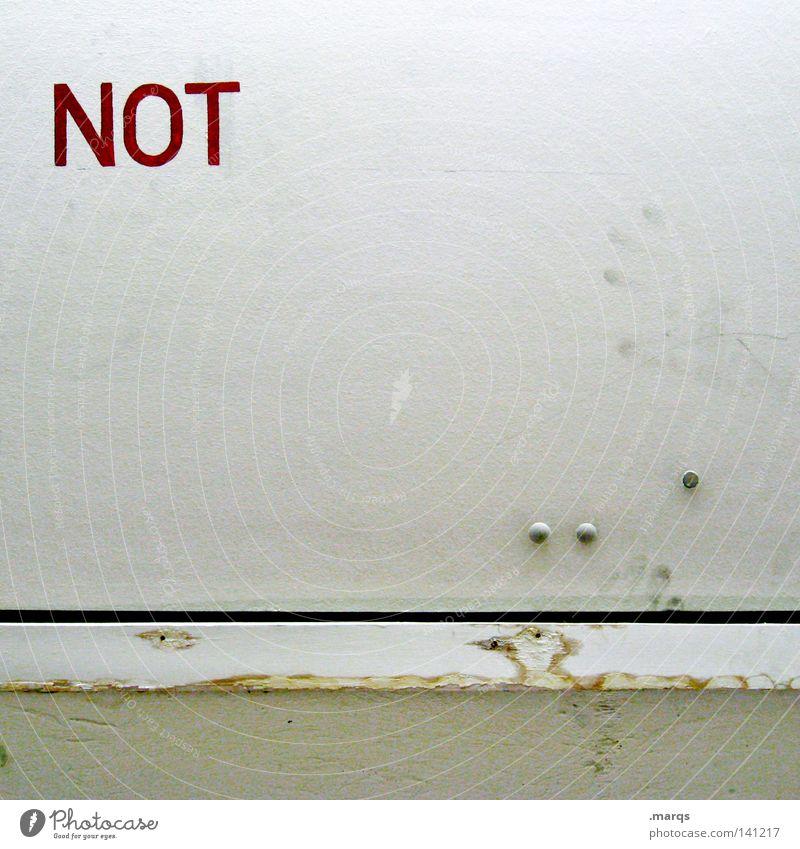 Negation notleidend Tür rot Wand Niete Angst Panik weiß Schriftzeichen Schacht Notfall Buchstaben Fingerabdruck Sicherheit nein negation handabdruck