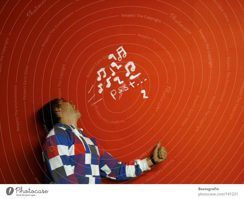 scream2 Mensch Mann rot Freude ruhig sprechen Wand Freiheit Musik Ohr schreien Konzert hören zeichnen Kreativität Sinnesorgane