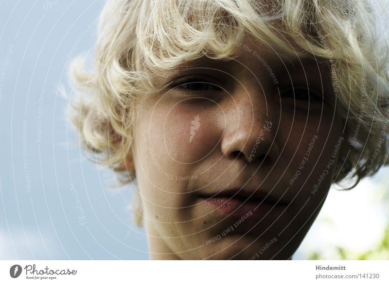 Ich kann auch semiarrogant! Kind schön Sommer Mädchen Gesicht dunkel Wärme Junge Haare & Frisuren lustig hell blond Mund Nase Fröhlichkeit süß