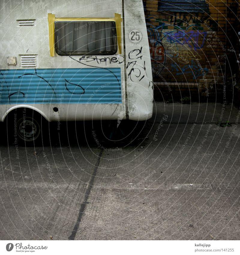 einraumwohnung 01 Wohnwagen Fenster Vorhang Parkplatz Streifen zyan Backstein Ferien & Urlaub & Reisen Freizeit & Hobby Prospekt Fahrzeug Mobilität Oldtimer
