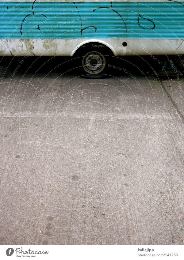 einraumwohnung 02 Wohnwagen Fenster Vorhang Parkplatz Streifen zyan Backstein Ferien & Urlaub & Reisen Freizeit & Hobby Prospekt Fahrzeug Mobilität Oldtimer