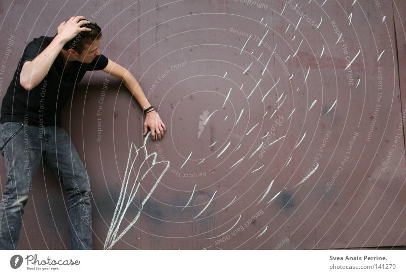 Wenn dein Leben fällt wie Regen Mann falsch Mauer Regenschirm braun Schutz Einsamkeit lustig Gemälde gemalt Freude Schwäche Malerei u. Zeichnungen