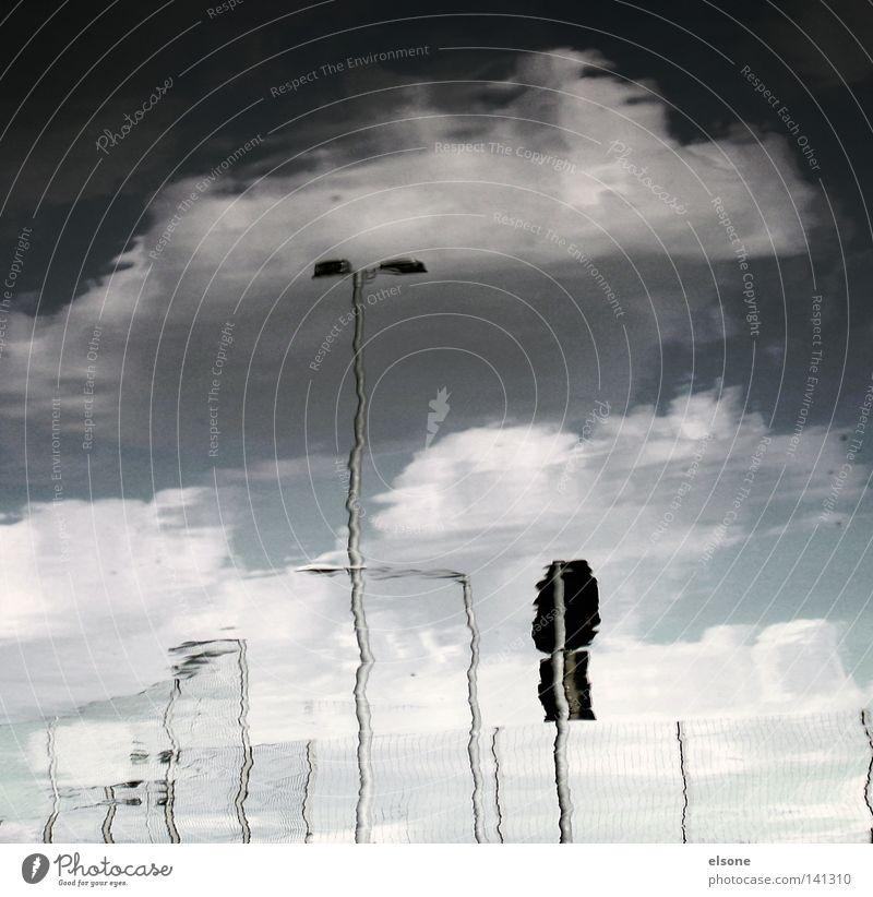 ::[..._.]:: Laterne Licht Schilder & Markierungen Verkehrsschild Wasser Pfütze Reflexion & Spiegelung Wolken Detailaufnahme refelektion