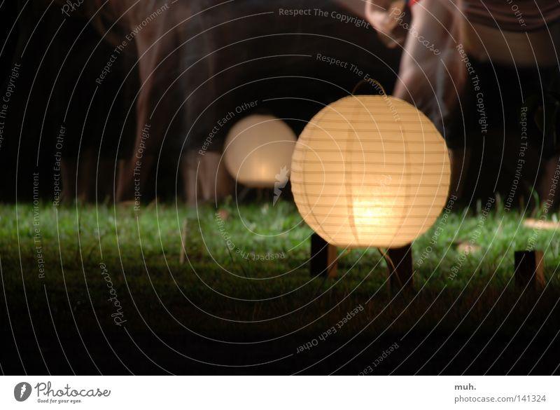 Lichtkugel rund Gras lang Belichtung 2 Unschärfe Freude Club Kugel