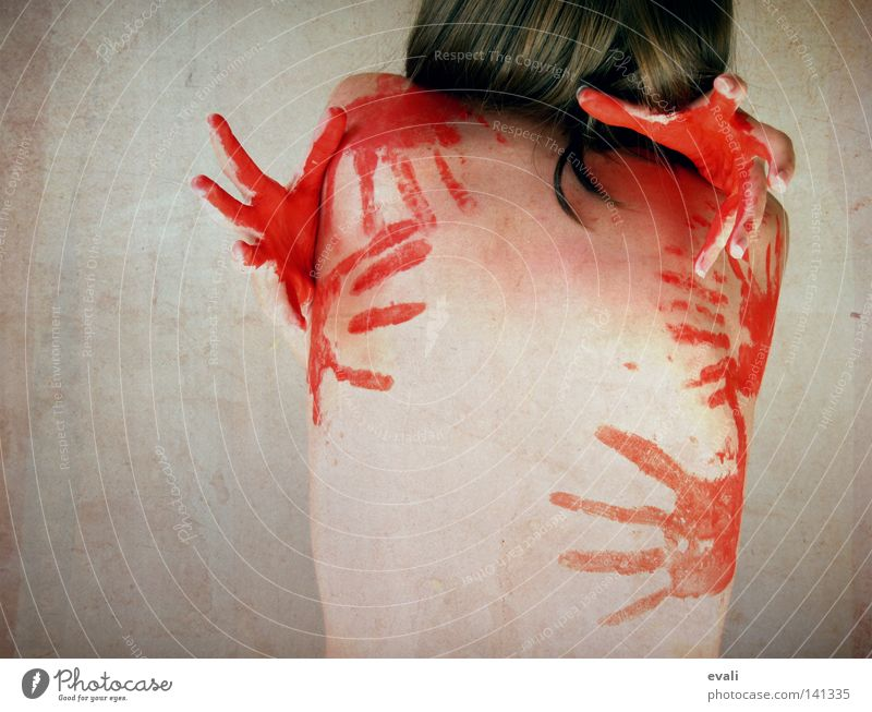 I just need you right now Frau Hand rot Farbe Haare & Frisuren Körper Rücken Finger Abdruck Fingerabdruck