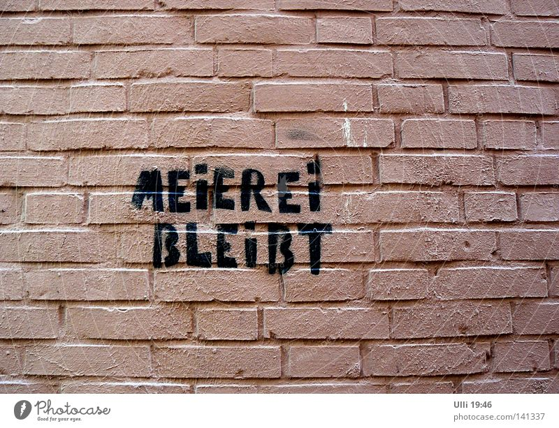 Mensch, Meier! Bleib doch! Farbfoto Außenaufnahme Detailaufnahme Textfreiraum unten Tag Zentralperspektive Haus Mauer Wand Stein Backstein Graffiti Wut rosa