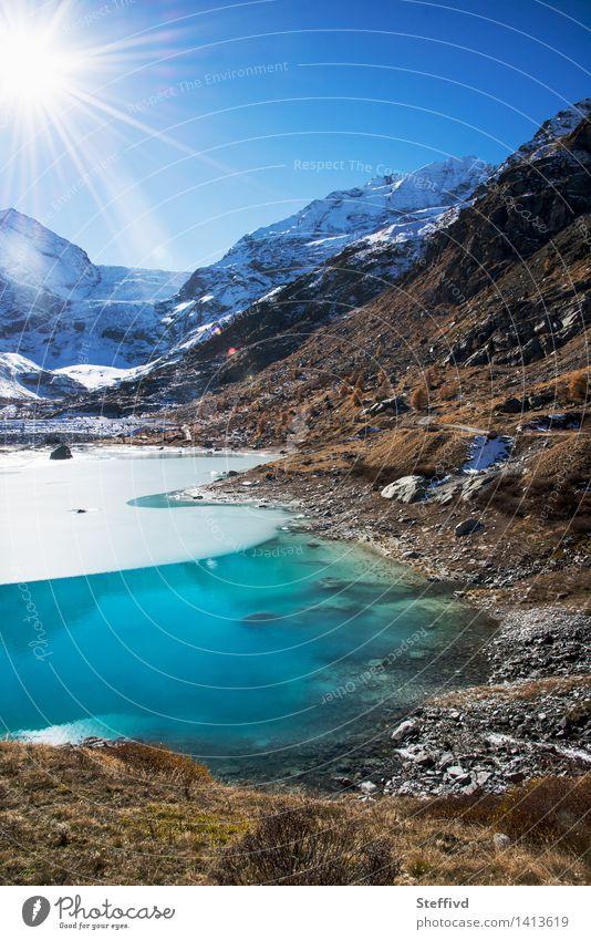 Blauer Herbst Himmel Natur Ferien & Urlaub & Reisen Wasser Sonne Landschaft Winter Berge u. Gebirge Umwelt Schnee Freiheit See Wetter Freizeit & Hobby Tourismus