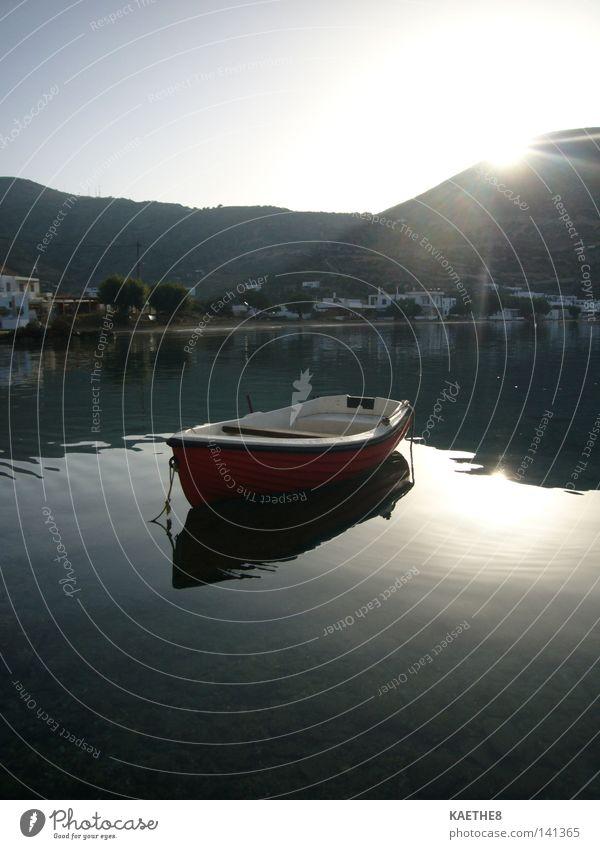 hafen Hafen Wasserfahrzeug Morgen Sonnenaufgang ruhig kalt Griechenland Ferien & Urlaub & Reisen Meer Licht Physik Reflexion & Spiegelung Fischer mediterran