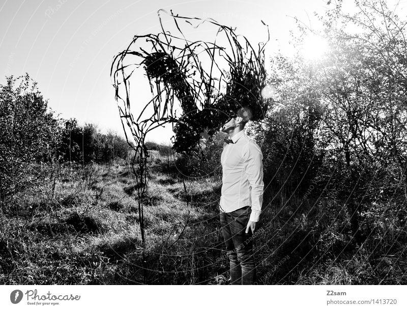 Metamorphose / Der Schwarm Natur Jugendliche Junger Mann Landschaft dunkel Erwachsene Umwelt Herbst Wiese Stil Lifestyle Mode träumen maskulin elegant Sträucher