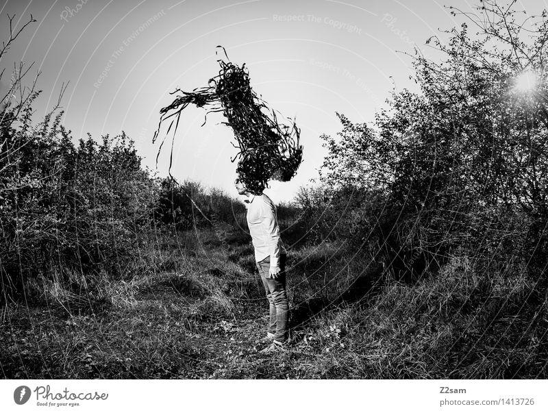 Der Schwarm Natur Jugendliche Junger Mann Landschaft dunkel Erwachsene Herbst Stil Lifestyle Mode maskulin träumen elegant Idylle stehen Sträucher