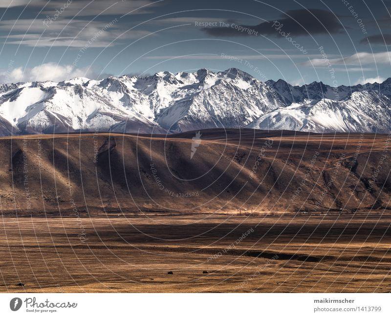 Neuseeländische Alpen im Winter blau weiß Erholung Landschaft ruhig kalt Berge u. Gebirge Gefühle Schnee braun Stimmung Freizeit & Hobby Tourismus wandern
