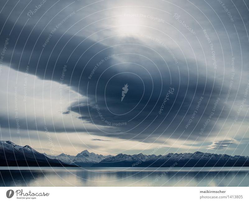 Neuseeland Lake Pukaki und Mt. Cook Natur Ferien & Urlaub & Reisen blau weiß Einsamkeit Landschaft ruhig Ferne Berge u. Gebirge Umwelt Schwimmen & Baden See