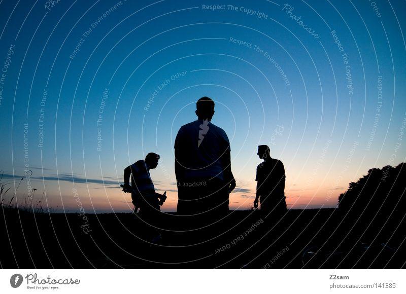 spezlwirtschaft Freundschaft Mensch Mann stehen 3 Silhouette schwarz einfach Fahrrad Heide Feld rot Verlauf Freizeit & Hobby Sommer Abend sonneuntergang Ferne
