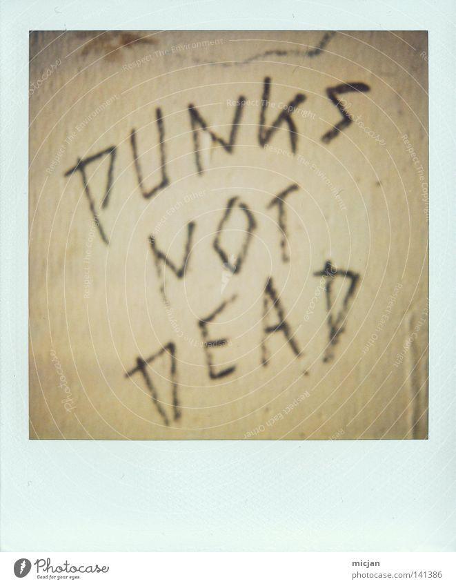 HH08.2 - Dead's not Punk! Punkrock Tod Redewendung Wand Mauer Polaroid Papier analog braun Schriftzeichen Typographie Handschrift Graffiti notleidend Verneinung