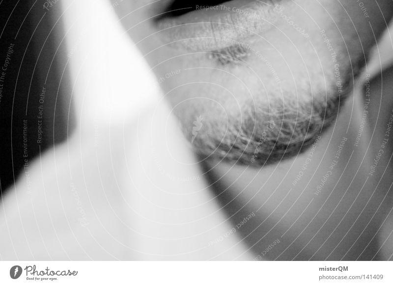 Somewhere In Between. Kinn schwarz weiß Schwarzweißfoto Lippen Mund Küssen Situation kalt Coolness Tabakwaren hell dunkel Mensch Verhalten Ende Beginn
