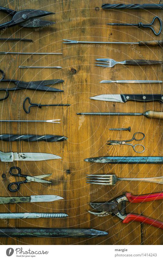 Spitz auf spitz: viele Spitze Gegenstände Beruf Handwerker Gartenarbeit Dienstleistungsgewerbe Werkzeug Schere Bohrmaschine Holz Metall blau braun silber