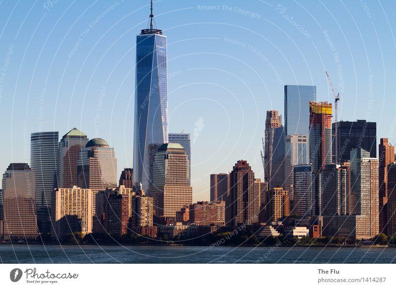 New New Yorker Skyline Ferien & Urlaub & Reisen Stadt blau braun Fassade Tourismus Büro Glas Hochhaus Beton USA Bankgebäude Stadtzentrum Sehenswürdigkeit Stahl