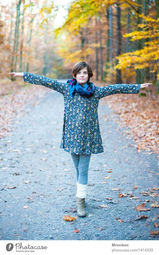 ... Mädchen Kindheit Jugendliche Leben 1 Mensch 8-13 Jahre Blick Herbst herbstlich Herbstwald Herbstlaub stehen drehen Tanzen Stulpe Kleid mädchenhaft