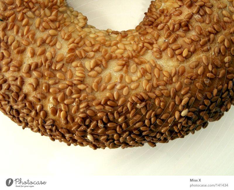 Das Hungerloch Farbfoto Detailaufnahme Freisteller Brot Brötchen Ernährung Frühstück lecker trocken weich braun weiß Appetit & Hunger Sesam Bagel Korn Loch