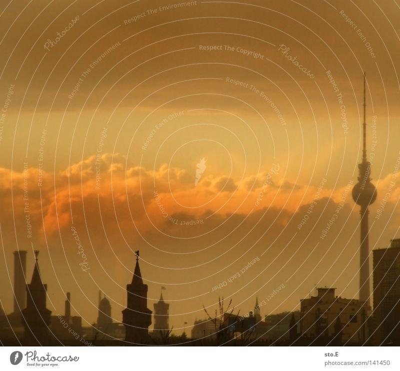 ick brauch' keen hawaii Himmel Stadt rot Haus Wolken Berlin Gebäude braun Kunst Deutschland Hintergrundbild Brücke Tourismus Turm Mitte Skyline