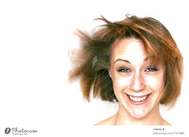 Lucky Frau Mensch schön weiß Freude Gesicht Freiheit Glück lachen Mund Zufriedenheit Wind frei rein Gelassenheit Ausstrahlung
