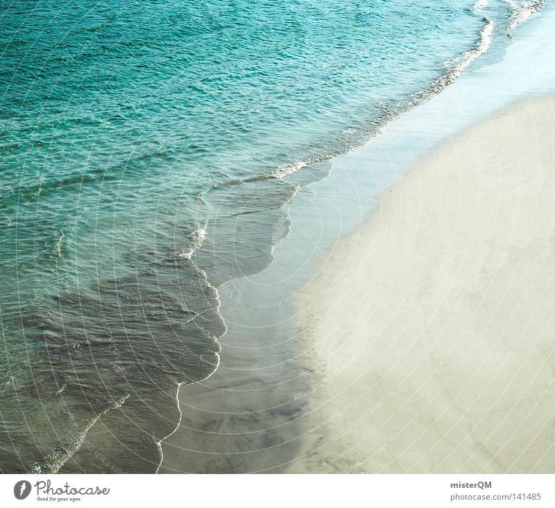Treffpunkt der Elemente. Ferien & Urlaub & Reisen blau Sommer Wasser weiß Meer Erholung Einsamkeit Freude Strand Küste Hintergrundbild grau Freiheit See Sand
