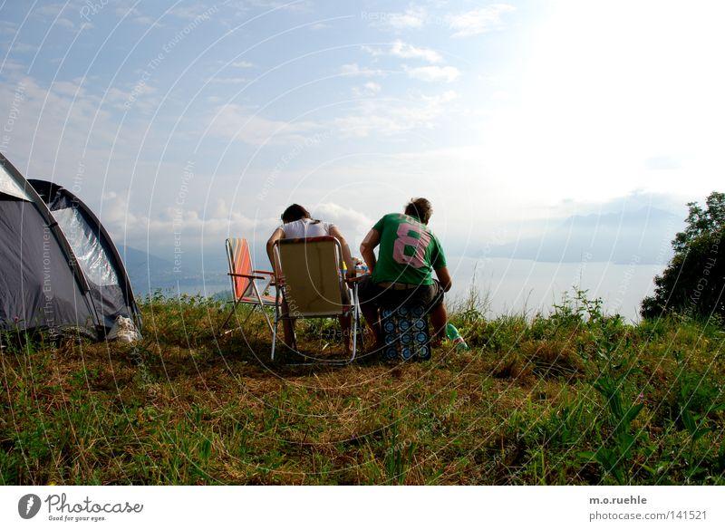 vista lago Natur Meer Sommer Wiese Freiheit See frei Italien Seeufer Aussicht Camping Sommerurlaub Zelt Piemonte Wohnmobil Wetterschutz