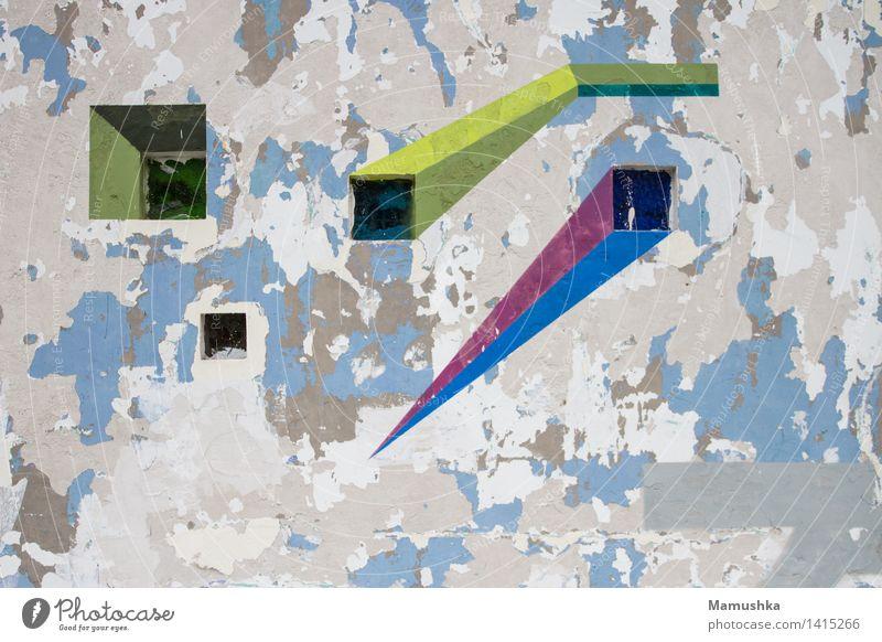 Outer Space. Stadt alt blau grün Haus Fenster Wand Graffiti Mauer grau Kunst außergewöhnlich Stein Linie hell dreckig