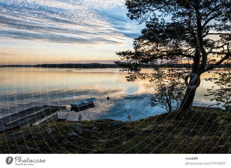 Schären an der schwedischen Küste Erholung Ferien & Urlaub & Reisen Tourismus Insel Natur Landschaft Wolken Baum Ostsee Meer Wasserfahrzeug blau grün Stimmung