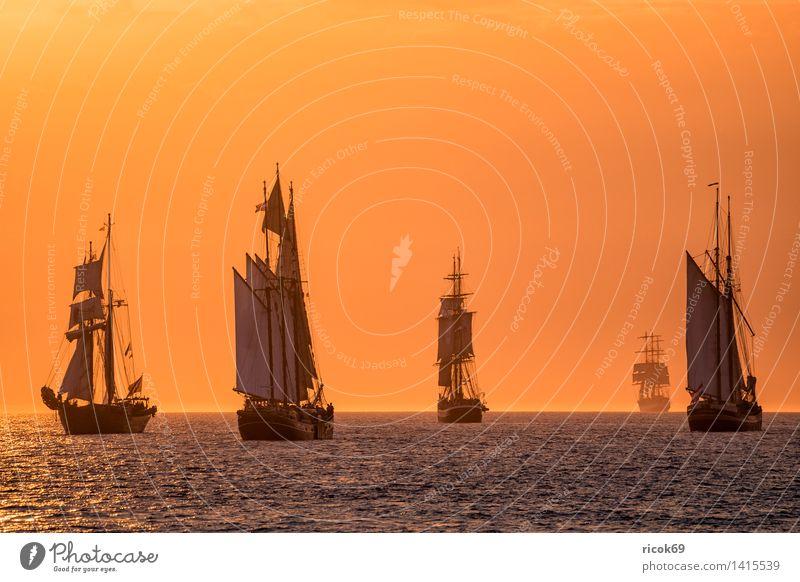 Segelschiffe auf der Hanse Sail Erholung Ferien & Urlaub & Reisen Tourismus Segeln Wasser Wolken Ostsee Meer Schifffahrt maritim gelb rot Romantik Idylle