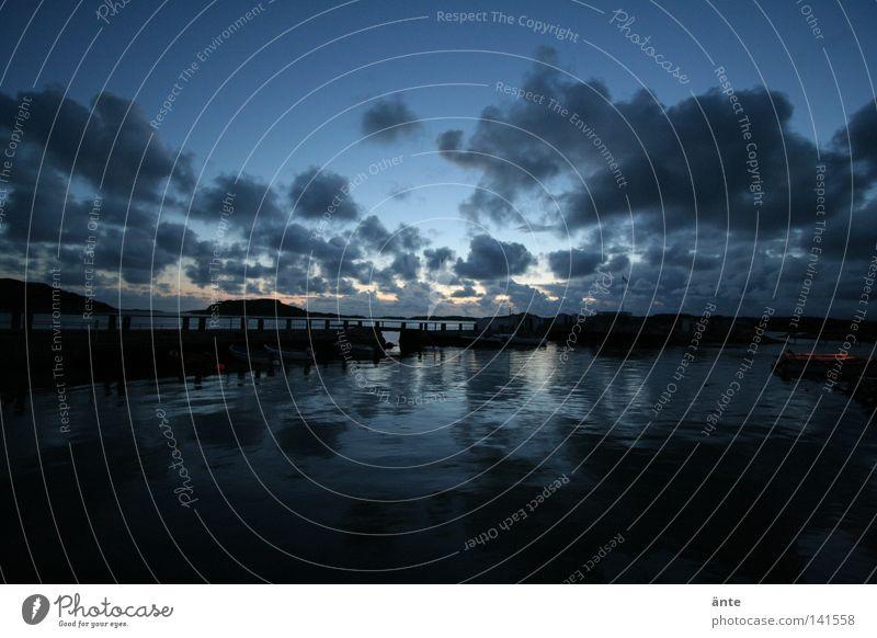 solnedgång Wasser Meer Ferien & Urlaub & Reisen dunkel träumen Trauer Insel Romantik Hafen Steg Fernweh Schweden Skandinavien Gewässer Wasseroberfläche