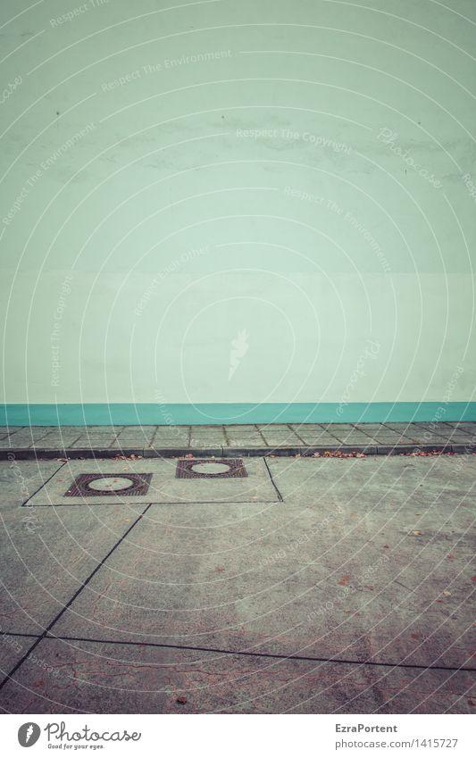 Freiraum Stadt Haus Bauwerk Gebäude Architektur Mauer Wand Fassade Straße Wege & Pfade dreckig dunkel trashig blau grau türkis Traurigkeit Werbung Gully