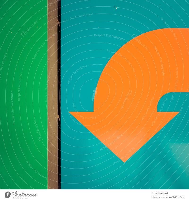 Pessimist Metall Zeichen Schilder & Markierungen Linie Pfeil Streifen blau grün orange Design Misserfolg planen Wachstum Werbung graphisch