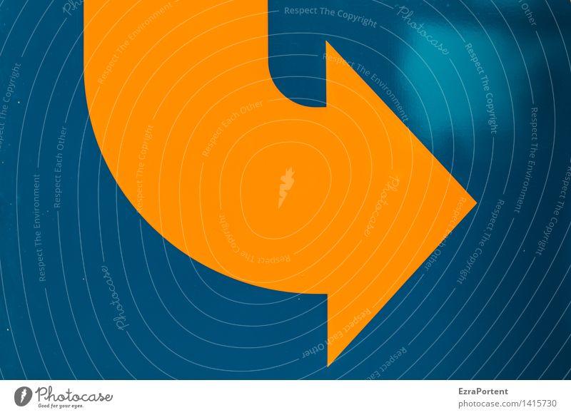 Realist Metall Zeichen Schilder & Markierungen Linie Pfeil blau orange Mut Design Fortschritt Gerechtigkeit Zufriedenheit Optimismus Werbung Hoffnungslosigkeit
