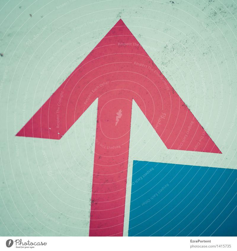 Optimist Metall Zeichen Schilder & Markierungen Hinweisschild Warnschild Linie Pfeil Streifen dreckig blau rot Optimismus Erfolg Mut Design Kraft Werbung