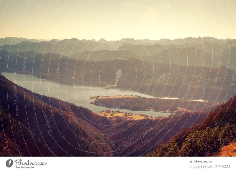 Good Morning! Umwelt Natur Landschaft Pflanze Himmel Wolkenloser Himmel Sonne Herbst Wetter Schönes Wetter Hügel Felsen Alpen Berge u. Gebirge Gipfel Freude