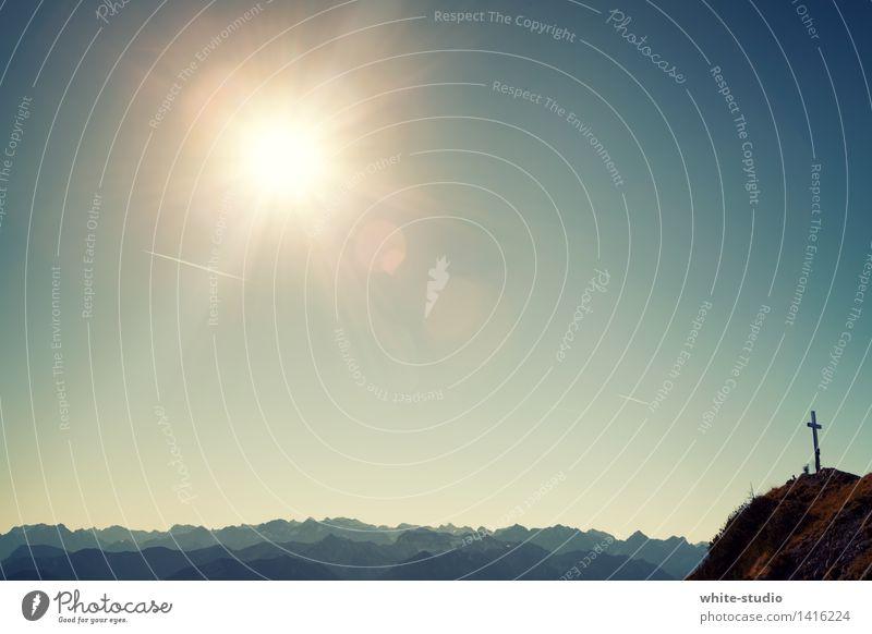 Guten Morgen lieber Gipfel Umwelt Natur Landschaft Pflanze Himmel Wolkenloser Himmel Horizont Sonne Sommer Wetter Schönes Wetter Hügel Felsen Alpen