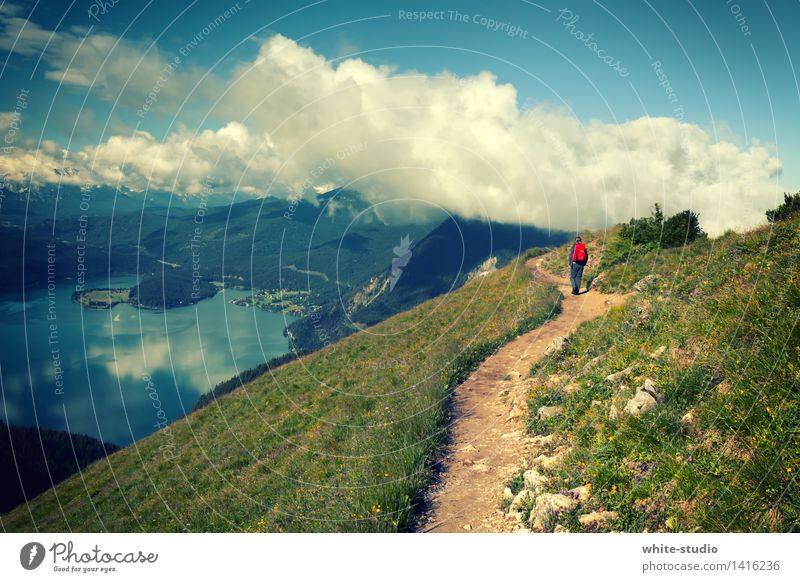 Ab in die Wolken! Mensch Frau Himmel Natur Jugendliche Sommer Junge Frau Landschaft 18-30 Jahre Berge u. Gebirge Erwachsene Umwelt Leben Wiese Wege & Pfade