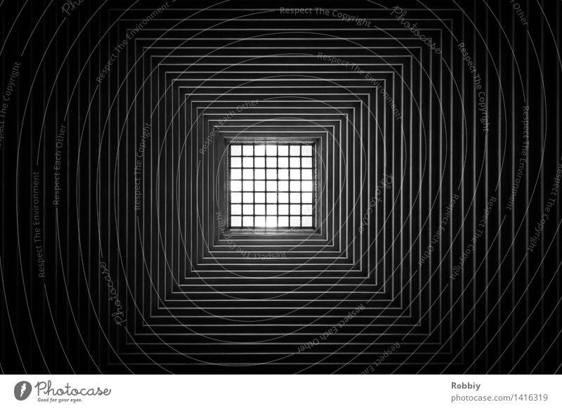 Quadratisch Fenster Dach Gebäude Gitter Gitternetz Design Stil Stadt Symmetrie Strukturen & Formen Geometrie einfach Architektur Linie Schwarzweißfoto abstrakt
