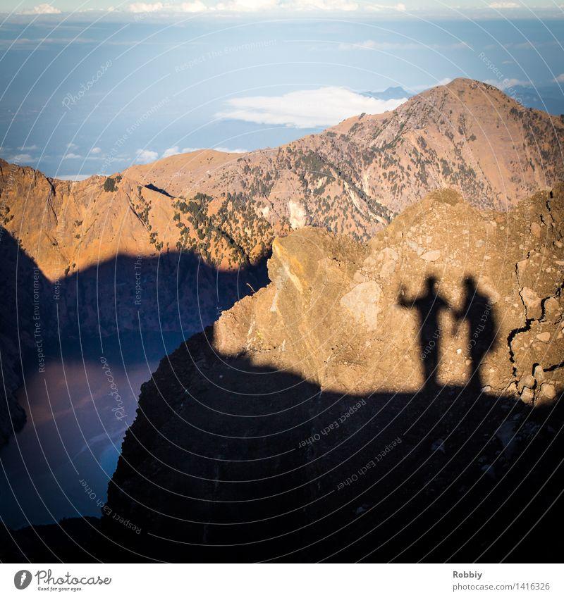 Der Schatten geht voraus Ferien & Urlaub & Reisen Tourismus Ausflug Abenteuer Ferne Expedition Berge u. Gebirge wandern 2 Mensch Landschaft Horizont Lombok