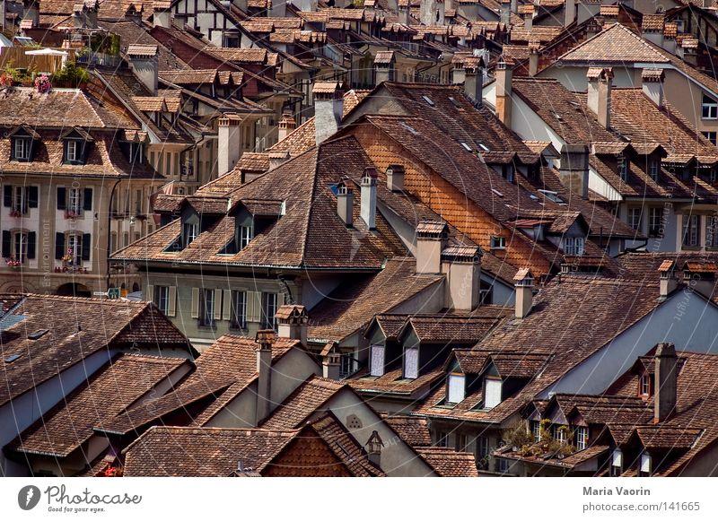 Über den Dächern Berns Schweiz Kanton Bern Haus Dach Fenster Schornstein Backstein Dachziegel Holzschindel Gebäude Unterkunft Stadt Örtlichkeit Dachgeschoss